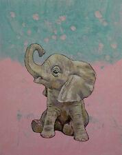 "Baby Elephant 16x20"" Oil Painting Children's Room Original Animal Art M.Creese"