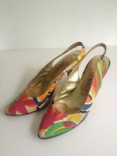 1980s Vintage Designer Escada Floral Slingbacks Made In Italy Size 7Aa