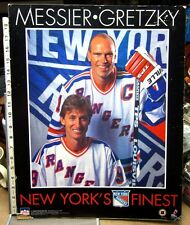 NEW YORK RANGERS beat-up cardbrd poster Wayne Gretzky & Mark Messier hockey 1996