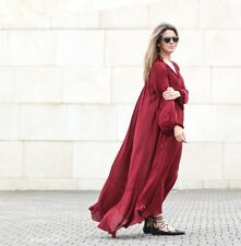 ZARA WOMAN STUDIO MAROON LONG FLOWING BOHO KAFTAN BLOGGERS MAXI DRESS S 8 10 12!