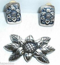 ESCADA Daisy Vintage Silver Pin Brooch Earrings Set Hapachico Haute Couture