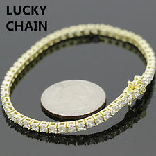 """925 STERLING SILVER ICED OUT GOLD TENNIS LINK BRACELET 7.5"""" 12g R525"""