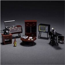 Vintage Japanese Sewing Telephone TV Dollhouse Miniature Furniture Playset 1:25