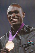 ATHLETICS: DAVID RUDISHA SIGNED 6x4 LONDON 2012 MEDAL PHOTO+COA *RIO 2016*PROOF*