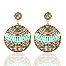 Multi Color Lucite Bead On Gold Tone Big Circle Dangle Chandelier Earring