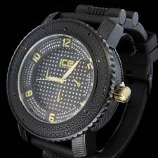 52mm Night Black Gold Tone Solid CZ Bling Hip Hop Silicone Big Face Men's Watch