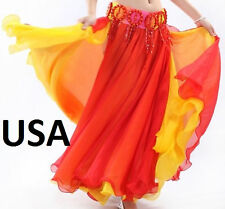 Belly Dance Costume skirt 2 layers with 2 side slits Skirt USA  (FREE GIFT)
