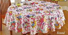 """Festive Easter Tablecloth Easter Eggs, Ribbons & Flowers 72"""" ROUND Polyester"""