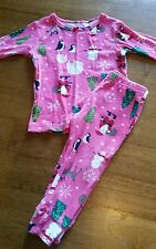Carter's Girls Size 12 Pink Christmas Button Pajamas Tree Santa ...