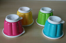 Tupperware Jel-Cup Jello Gelating Mold 4 oz Colorful Colors (4)   New