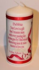 Personalised Your love is a gift poem Valentine candle for him or her by Cellini