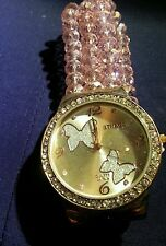 """WOMEN 3 ROW GLASS BEADS FASHION WATCH-ROSE GOLD W/CRYSTALS-FIT 7 1/2"""" TO 10"""""""