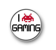 """I LOVE GAMING / 1"""" / 25mm pin button / badge / online / console / xbox / PS4"""