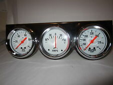 2 5/8 WHITE FACE TRIPLE GAUGE SET MECANICAL WATER TEMP OIL PRESSSURE AMPS GAUGES