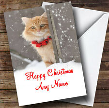 Ginger Cat Christmas Greetings Card Personalised