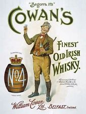 Cowan's Irish Whisky Drink Barrel Bar Pub Cafe Old Vintage Medium Metal/Tin Sign