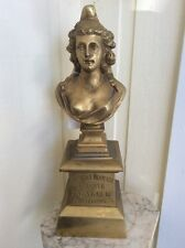 "Antique Art Nouveau French Bronze Statue Female Bust Figural Woman 17.5""X 5.5"""