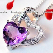 Amethyst Heart Necklaces Silver 925 Christmas Jewellery Gifts for Her Mum Wife