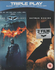 THE DARK KNIGHT + BATMAN BEGINS - BLU RAY DVD UV BOXSET - NEW AND SEALED - UK