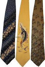 A lot of 3 Brand New Cutter & Buck Designer 100% Silk Tie Neck wear Made in USA