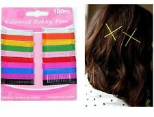 100 Coloured Hair Grips Clips Bobby Kirby Pins Clamps Salon Waved Slides Clamps