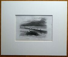 PORLOCK, SOMERSET, BRISTOL CHANNEL, BOAT, mounted original antique print c1835