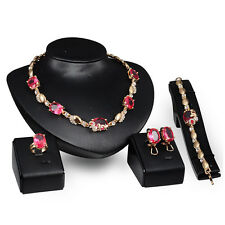 Red Crystal Gold Plated Rhinestone Necklace Earring Bracelet Ring Jewelry Set