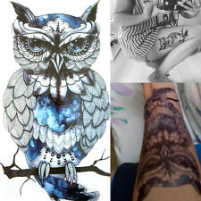 Temporary 3D Owl Tattoos Large Arm Leg Fake Transfer Tattoo Stickers Waterproof