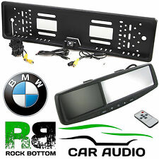 "BMW 4.3"" Rear View Reversing Mirror Monitor & Car Number Plate Colour Camera Kit"