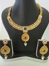 Indian Bollywood Traditional Gold Tone Bridal Kundan Party Fashion Jewellery Set