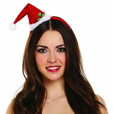 CHRISTMAS FUNKY SANTA HAT ON HEADBAND WITH POM POM MINI FANCY DRESS XMAS HB