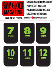 GLOCK 9MM MAG BASE PLATE STICKERS LIME NUMBERS 7-12