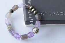 "Silpada Purple ""ULTRAVIOLET"" Amethyst Sterling Silver Stretch Bracelet B3084 NEW"