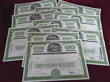 Lot of 10 Old Frisco Railway Company Stock Certificates Railroad 1960's (Green)