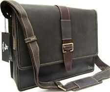 Large Messenger College Bag Brown Real Leather Visconti New 16160