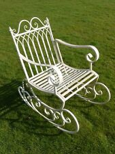 Antique White Aged Metal Garden Rocking Chair Porch Conservatory Indoor Outdoors