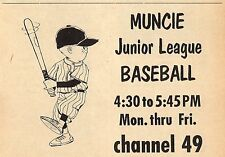 1964 WLBC TV AD~MUNCIE,INDIANA JUNIOR LEAGUE BASEBALL~CHANNEL 49~HALF PAGE 5 X 4