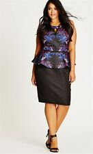 CITY CHIC baroque fever dress sz L peplum textured fabric keyhole neck