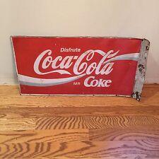 Vintage Metal Mexican Disfruta Coca Cola Coke 2-sided Sign