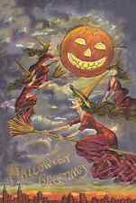 vintage art HALLOWEEN  WITCHes on  Brooms  Jack o Lantern Moon