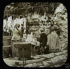 Glass Magic Lantern Slide VILLAGERS - PROBABLY SOUTHERN ITALY C1890 ITALY