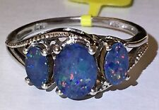 Australian Boulder Opal Trillion Ring in Sterling Silver size 8