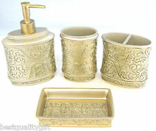 4 PC GOLD DETAIL RESIN SOAP,LOTION DISPENSER+SOAP DISH+TOOTHBRUSH HOLDER+TUMBLER