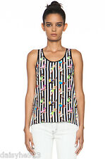 NEW MSGM 100% SILK TANK TOP XS S 36 PIN UP GIRLS PRINTS BLACK WHITE STRIPES