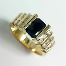 DIAMOND AND BLUE SAPPHIRE 1.75 TCW 14K YELLOW GOLD RING BY EFFY SIZE 6.75