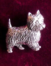 Pewter Cairn Terrier  Dog Brooch Pin  Quality