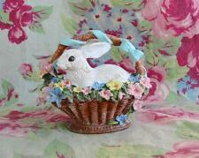 Cute Little Easter Rabbit Bunny in Basket with Flowers Figure
