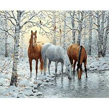 DIY Forest Horses Digital Oil Painting By Number Kits Linen Canvas Paint Decor