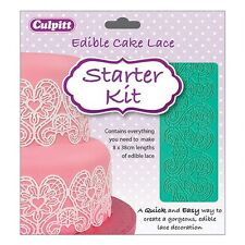CULPITT Cake Lace Starter Kit - Heart design silicone mat, lace mix, spreader