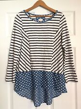 ANTHROPOLOGIE Postmark FAIRLEY Striped Polka Dot Tunic Top S